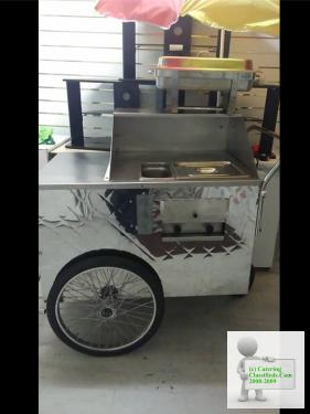 Mobile cartering hot dog push cart