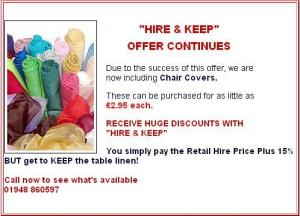 Commercial table linen for hire services in UK