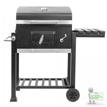 Garden Outdoor Charcoal Trolley BBQ Barbecue Cooking Food Anthracite Grill Wheel Portable