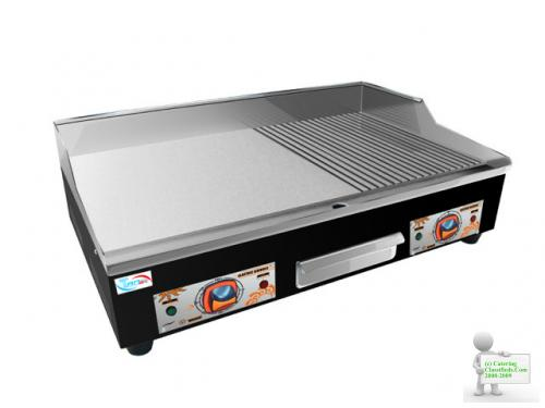 NEW ELECTRIC GRIDDLE / HOTPLATE 73CM FLAT GROOVED COMMERCIAL