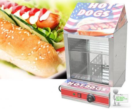 TANSIK ELECTRIC HOT DOG STEAMER MACHINE & BUN WARMER DISPLAY SHOWCASE