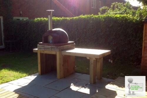 Timber Sleeper Pizza Oven Stand And Work Station With Timber Stor