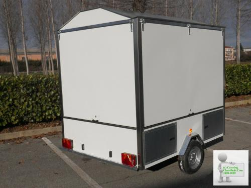 Wood/gas Pizza oven on trailer, Mobile, street food, Forno a legna/gas